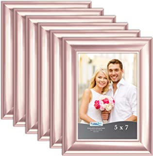 Icona Bay 5x7 Picture Frame (Rose Gold, 6 Pack), Rose Gold Photo Frame 5 x 7, Wall Mount or Table Top, Set of 6 Elegante Collection