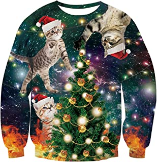 Unisex Ugly Christmas Sweatshirt 3D Funny Graphic Printed Xmas Long Sleeve Pullover Sweater Shirt