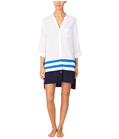 Donna Karan Viscose Plain Weave Sleepshirt (White) Women
