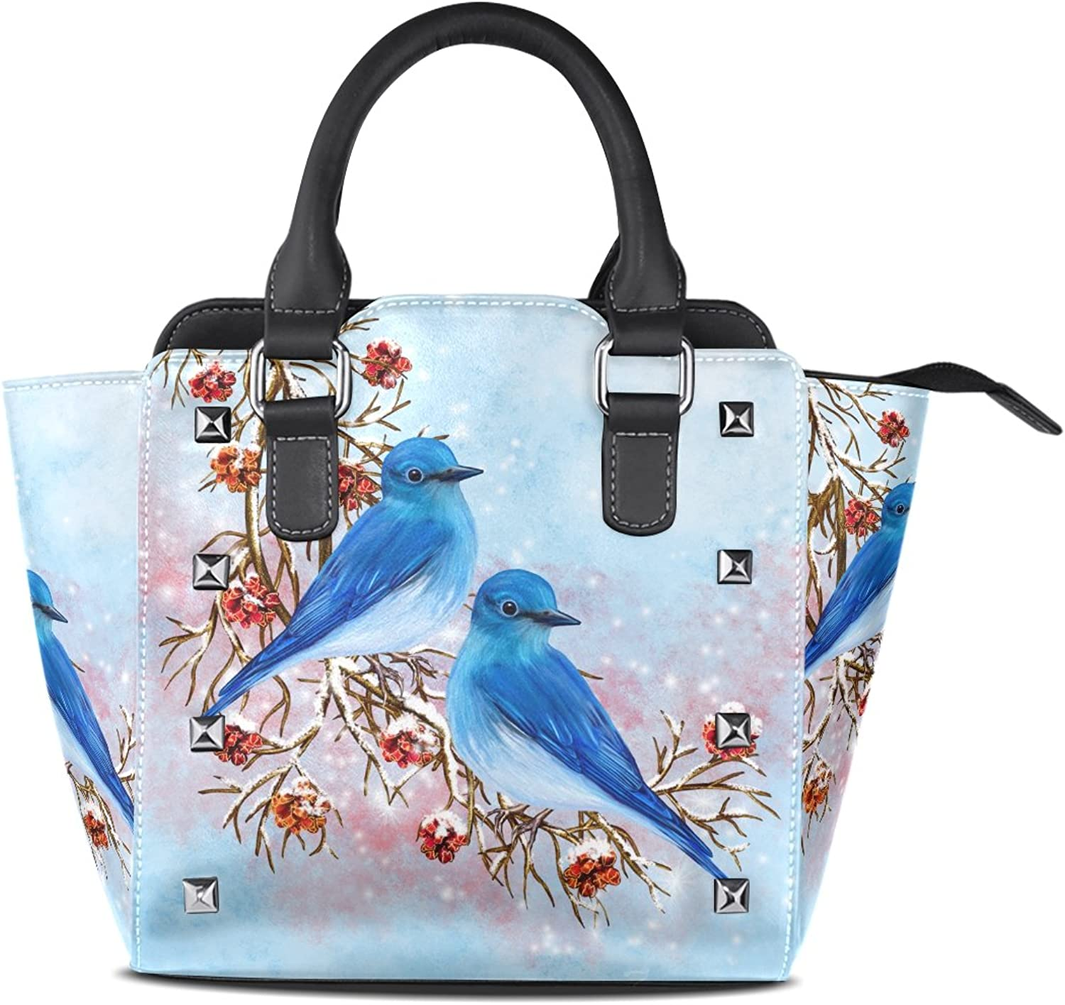 My Little Nest Women's Top Handle Satchel Handbag Two bluee Birds Ladies PU Leather Shoulder Bag Crossbody Bag