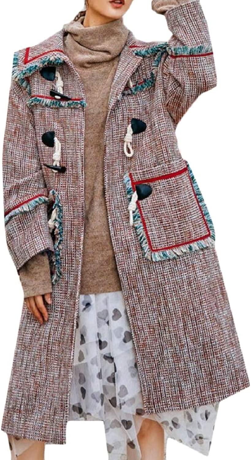 TymhgtCA Womens Plaid Long Tassel Maxi Wool Blend Overcoat Jacket Trench Coat