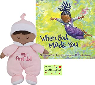 Ganz My First Black Doll Soft Plush Girl Paired with When God Made You by Matthew Paul Turner and Illustrated by David Catrow - Inspiring Young Girls to Believe in Their Uniqueness, Grow, and Fly