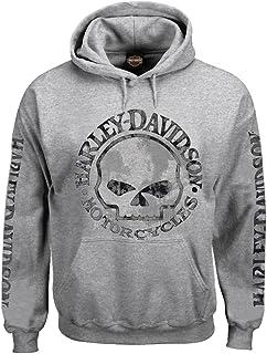 Men's Hooded Sweatshirt, Willie G Skull, Gray Hoodie...