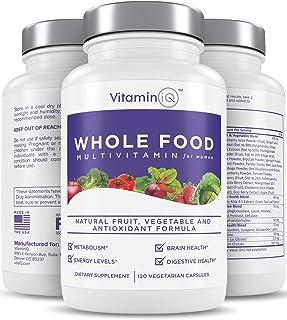 VitaminIQ Multivitamin for Women, Whole Food Vitamin, Antioxidant Rich Supplement for Essential Nutrients, Natural Calcium, Magnesium, Selenium, Vitamin A, B6, C, D3, E, K, 120 Vegetarian Capsules