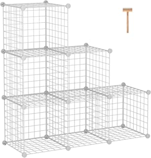 """C&AHOME Wire Storage Cubes, Metal Grids Bookshelf, Modular Shelving Units, Stackable Bookcase, 6 Cubes Closet Organizer for Home, Office, Kids Room, 36.6""""L x 12.4""""W x 36.6""""H White"""