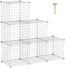 """C&AHOME Wire Storage Cubes, Metal Grids Bookshelf, Modular Shelving Units, Stackable Bookcase, 6 Cubes Closet Organizer for Home, Office, Kids Room, 36.6""""L x 12.4""""W x 36.6""""H, White"""