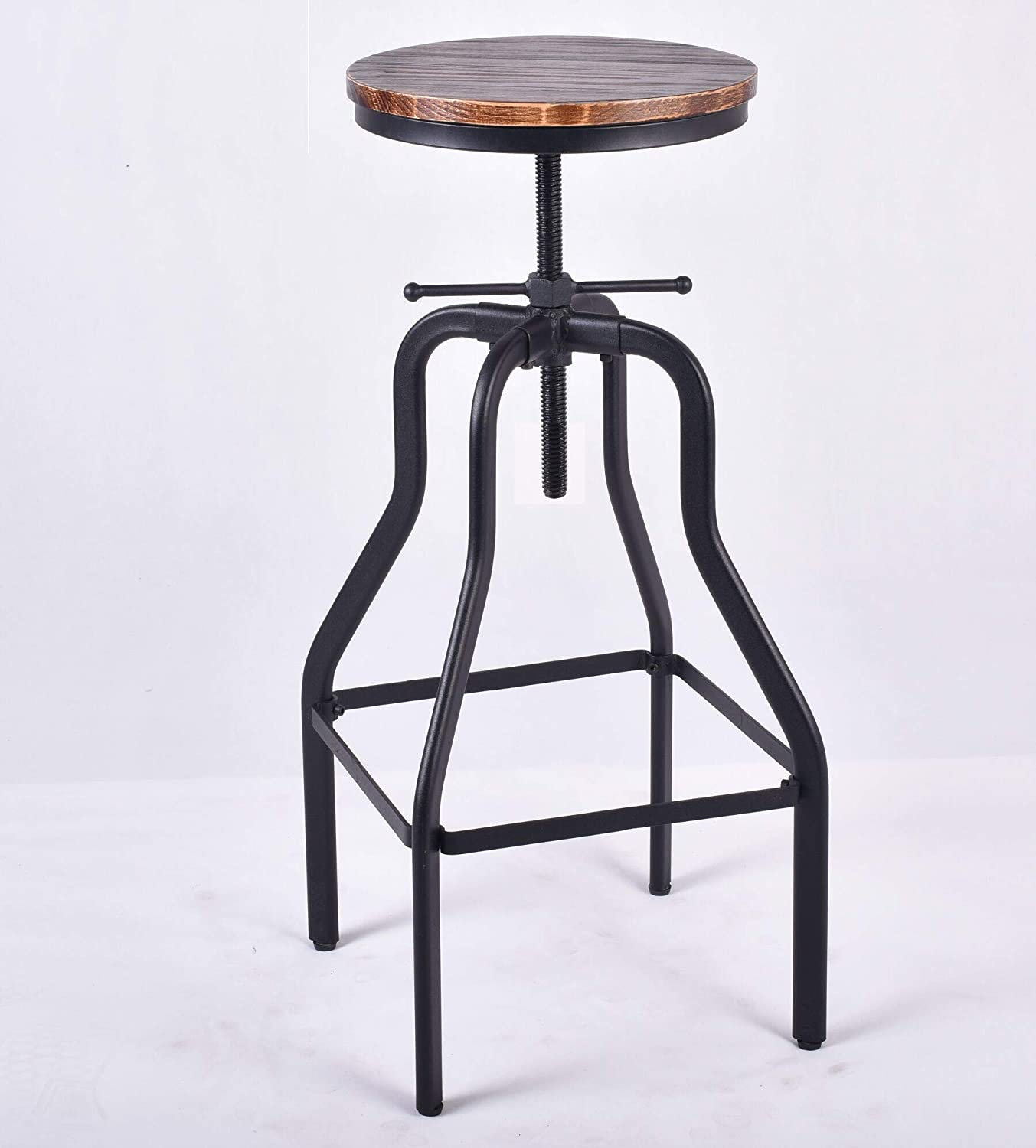 Diwhy Industrial Swivel Bar Stools Adjustable Height Pinewood Kitchen Dining Chair Bar Stool