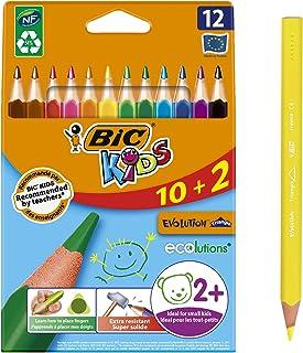 BIC Kids Evolution Triangle ECOlutions Crayons de Couleurs Triangulaires - Couleurs Assorties, Etui Carton de 10+2