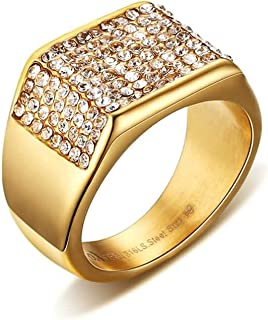 Rings Men Stainless Steel Cubic Zirconia 11MM Gold Plated Wedding Ring Eternity Band