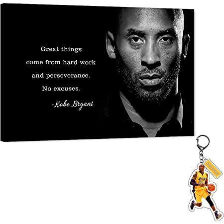"""Kobe Inspirational Quotes Canvas Wall Art LA Lakers Bryant Motivational Quotes Poster, Basketball Star Framed Artwork for Wall Decor, Black Mamba Canvas Print for Men Boys Room Office Decor(24""""Wx36""""H)"""