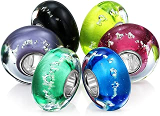 Bling Jewelry Multi Color Glow in The Dark Murano Glass Set of 6 Sterling Silver Spacer Bead Fits European Charm Bracelet ...