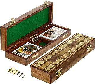SKAVIJ Solid Wood Cribbage Board Game Set 2 Track with 8 Metal Peg (10.2 Inch, Brown)