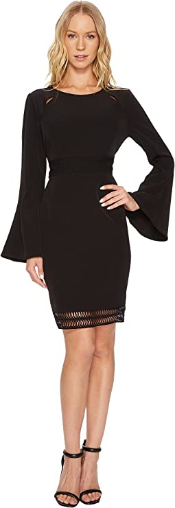 Scoop Neck Faggoting Insert Long Sleeve Flare Dress