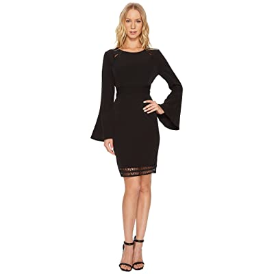 CATHERINE Catherine Malandrino Scoop Neck Fagoting Insert Long Sleeve Flare Dress (Black Beauty) Women