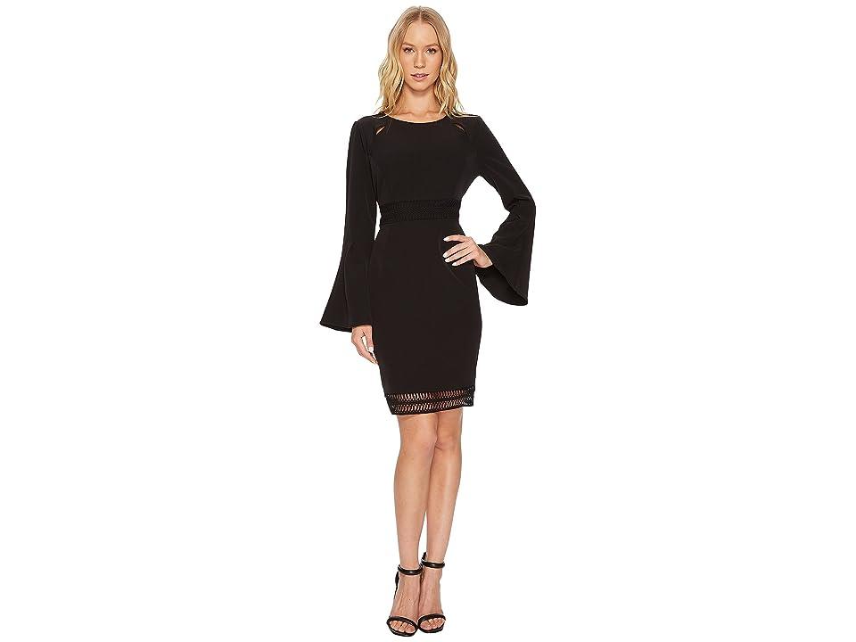 CATHERINE Catherine Malandrino Scoop Neck Fagoting Insert Long Sleeve Flare Dress (Black Beauty) Women