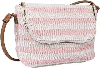 SIX Damen Handtasche, Mini Bag zum umhängen im maritimen Streifenlook, grob gestrickte Baumwolle in beige und rosa, Henkel...