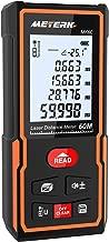 Télémètre laser numérique 60M Meterk Mesure du théorème de longueur/Zone/Volume/Théorème de Pythagore, 30 ensembles de stockage de données, Fonction mute, Commutation d'unité m/in/ft, avec sac