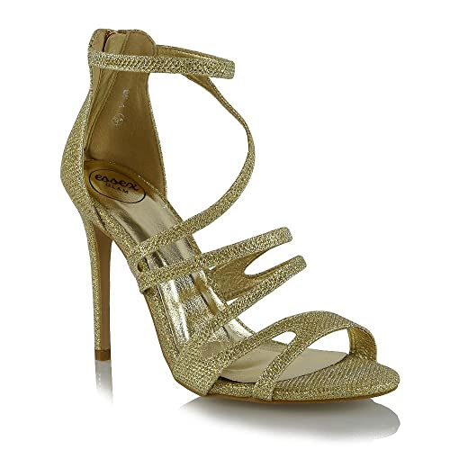 a34feccd01 ESSEX GLAM Womens Platform High Heel Open Peep Toe Ladies Stiletto Strappy  Party Shoes