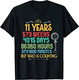 Funny Wedding Anniversary 11 Years and Counting Couples Tee