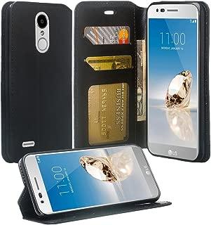 LG Aristo 3/Zone 4/Phoenix 4/Aristo 2 Plus/Rebel 4/Tribute Empire/Rebel 4 LTE/Risio 3/Aristo 2 [COVERLAB] Cute Wallet Phone Case Cover w/ [Kickstand] for Girls Women - Black
