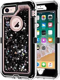 iPhone 8 Case, iPhone 7 Case, Anuck 3 in 1 Hybrid Heavy Duty Defender Case Sparkly Floating Liquid Glitter Protective Hard Shell Shockproof TPU Cover for Apple iPhone 7/ iPhone 8 4.7 inch - Black