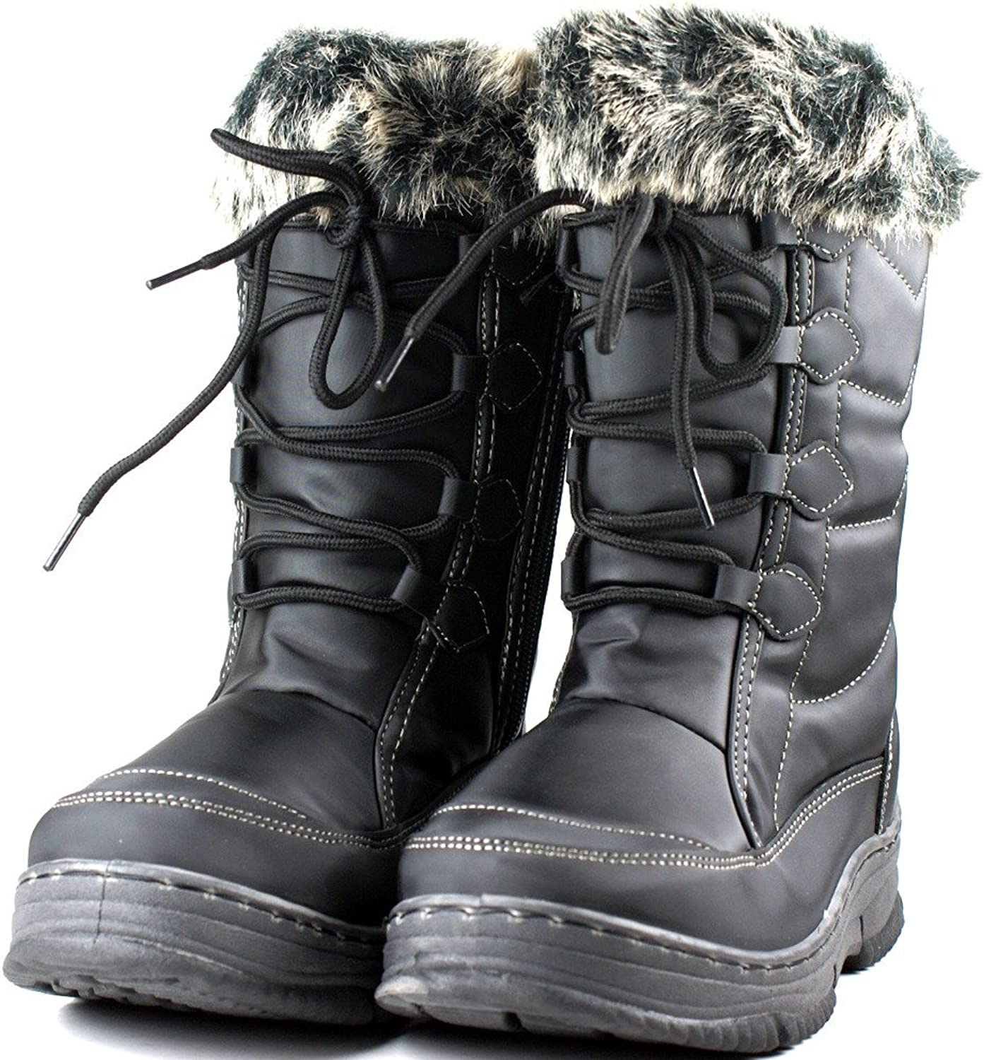 Cute Womens Lace Mid Calf Snow Boots Flat Fashion shoes