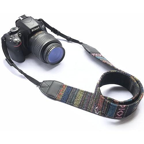 House of Quirk Camera Neck Shoulder Belt Strap for All DSLR Camera (Black)