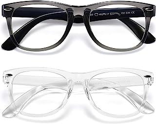 عینک مسدود کننده چراغ آبی بچه ها پسرانه 2 بسته ای ، عینک مخصوص بازی ویدیویی رایانه ای برای دختران دختر بچه پسران 3 تا 10 ساله ، نور ضد آبی