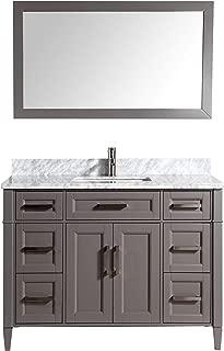 Vanity Art 60 Inch Single Sink Bathroom Vanity Set | Carrara Marble Stone Soft Closing Doors Undermount Rectangle Sink with Free Mirror - VA2060-G