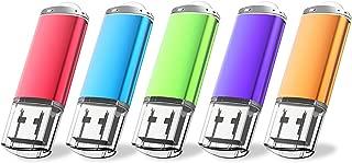 JUANWE 5 Pack 16GB USB Flash Drive USB 2.0 Thumb Drives Jump Drive Memory Stick Pen - Blue/Purple/Pink/Green/Orange(16GB,5 Mixed Color)