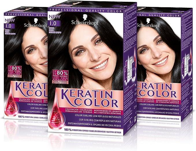 Keratin Color Cream Coloración del Cabello 1.0 Negro - 3 Unidades
