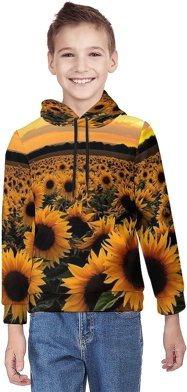 Kimisoy Teens Pullover Hoodie Sunflower Field Lightweight Sweatshirt Windbreaker Hooded Shirts