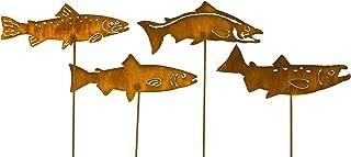 Large Fish Garden Art, Set of 4 Fish, Salmon & Trout Metal Garden Decor, 23x6