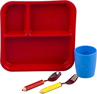 Eat4Fun Kids and Toddler Utensil Set - Pencil Fork & Spoon w/Plate and Cup