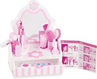 "Melissa & Doug Wooden Beauty Salon Play Set - The Original (Vanity & Accessories, 18 Pieces, 15.5"" H x 12"" W x 6"" L, Great Gift for Girls and Boys - Kids Toy Best for 3, 4, 5 Year Olds and Up)"