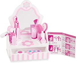 Melissa & Doug Wooden Beauty Salon Play Set - The Original (Vanity & Accessories, 18 Pieces, 15.5
