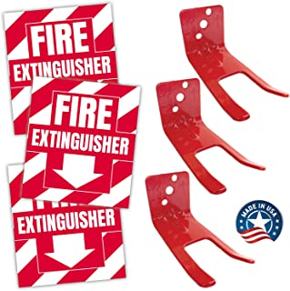 Fire Extinguisher Sign, Sticker, Bracket Wall Mount - Pack of 3 Self Adhesive Decals Weatherproof UV Protected AND 3 6-13 lb Forks