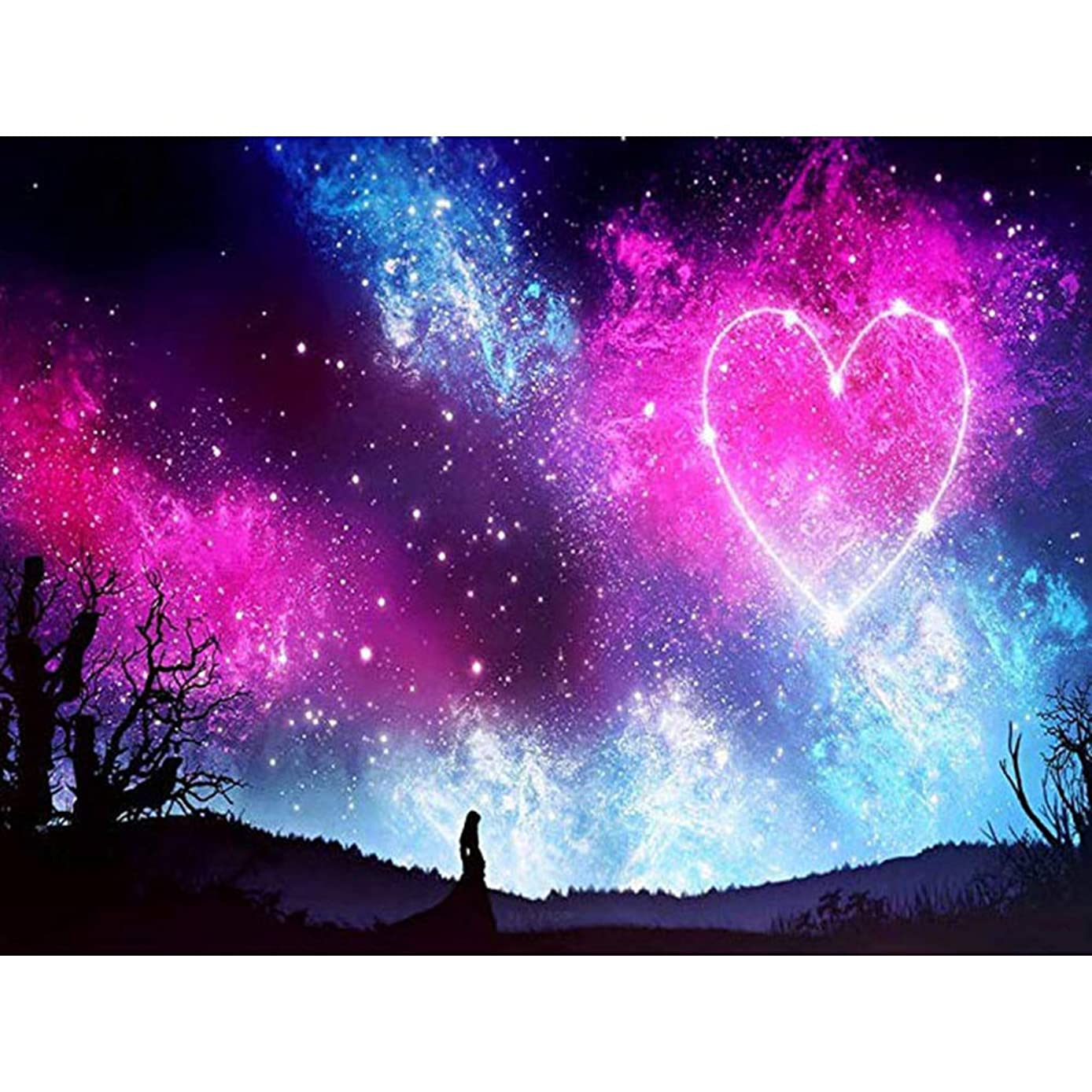 DIY 5D Diamond Painting by Number Kits, Crystal Rhinestone Diamond Embroidery Paintings Pictures Arts Craft for Home Wall Decor, Full Drill, Colorful Love in The Star Sky (J6110CSAX-11.8X15.7in)