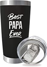 SassyCups Best Papa Ever | 20 Ounce Engraved Black Stainless Steel Insulated Travel Mug | Happy Birthday Papa | New Papa T...