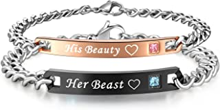 His or Hers Matching Set His Beauty Her Beast Titanium Stainless Steel Couple Bracelet in a Gift Box