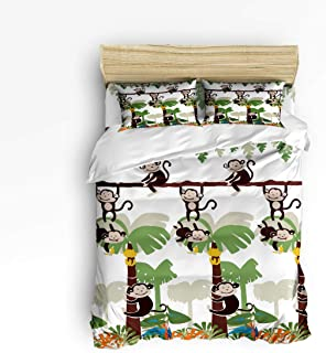 YEHO Art Gallery Queen Size Duvet Cover Set Cute Bedding Sets for Girls Boys,Monkey Jungle in The Tree Cartoon Pattern Adult Bed Sets,4 Pcs Include 1 Flat Sheet 1 Duvet Cover and 2 Pillow Cases