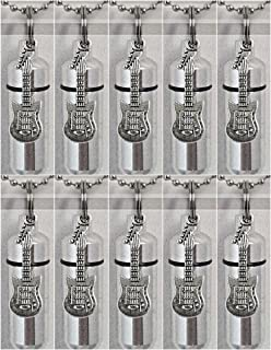 Family Set of TEN Silver ELECTRIC GUITAR CREMATION URN Necklaces with ENGRAVED MUSIC NOTES - with 10 Pouches, Ball-Chains, Fill Kit - MADE IN THE USA