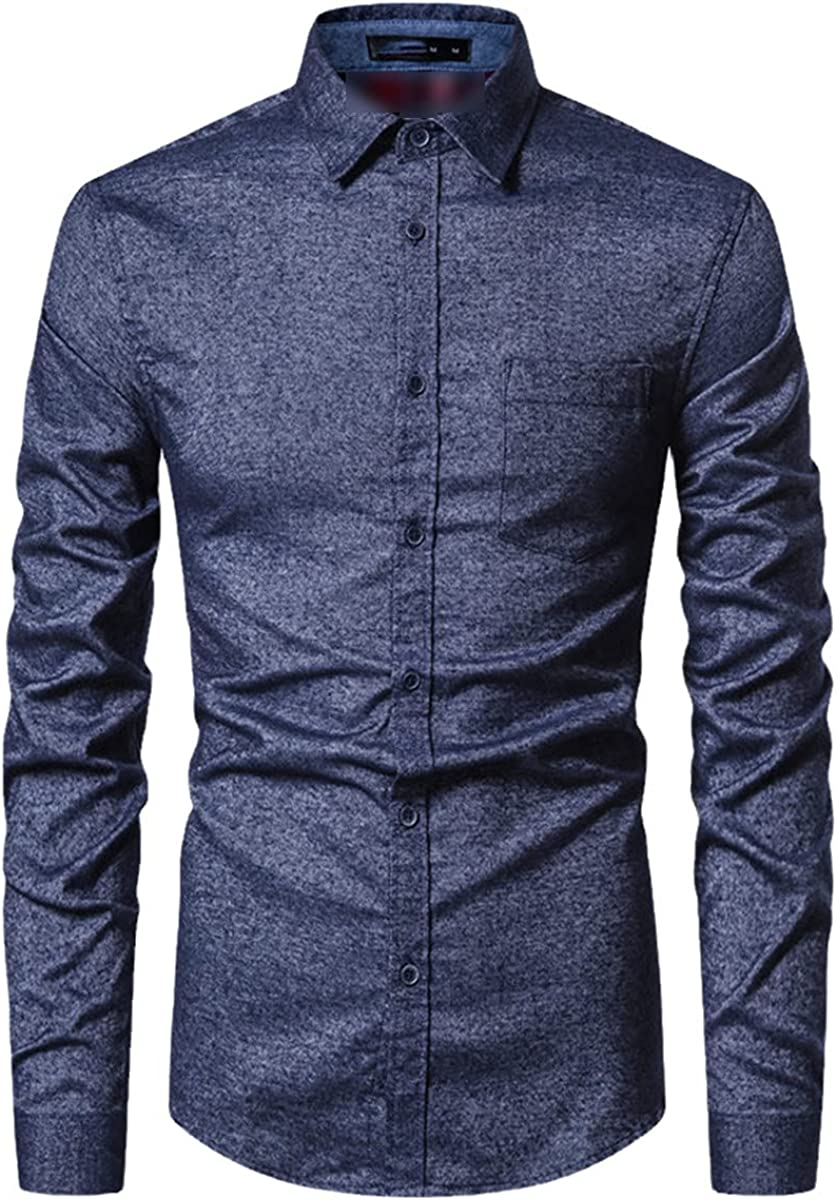 Spring Pure Cotton Men's Formal Shirt Social Business Casual Solid Color Shirt Slim Patchwork Shirt