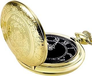 Orologio da Taschino al Quarzo per Uomo con Quadrante Nero e Catena