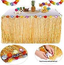 Falda de Mesa Hawaiana, Falda de Mesa de Hierba Hawaiana, 30 Pares de Flores, Adecuada para una Fiesta Temática de Barbacoa, Fiesta en la Playa Tropical, Natación o Cumpleaños de Navidad (Amarillo)