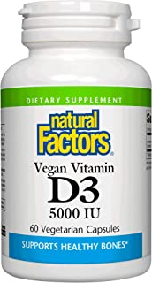 Natural Factors, Vegan Vitamin D3 50 mcg (2000 IU), Supports Bone and Immune Health, 60 Capsules