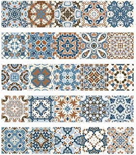 Talavera Peel and Stick Tile Stickers Stair Decals Self-Adhesive Wall Backsplash for Bathroom/Kitchen/Living Room, 7.87