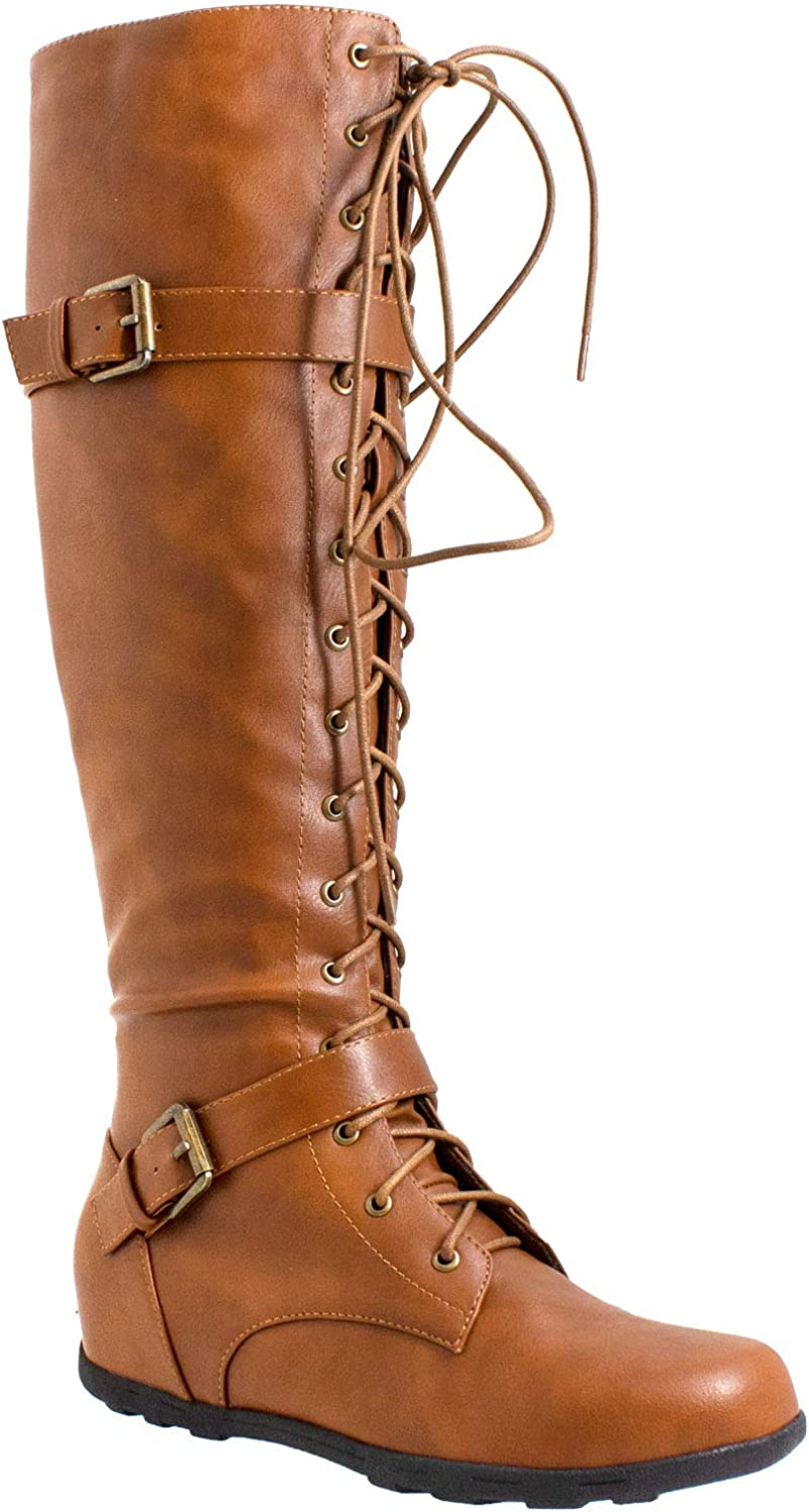 Generation Philadelphia Mall Y Women's Knee-High Lace Up Combat Flat Wedge B Japan Maker New Boots