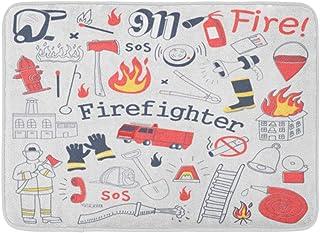 赤い消防士フリーハンド落書き消防士消火器と描かれた機器屋内屋外ドアマットラグフロアマット滑り止め寝室用バスルームリビングルームキッチン23.6×15.7インチ家の装飾