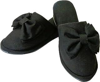 [BLUEFAIRY] フォーマル スリッパ ヒール 4cm ブラック 黒 リボン 卒業式 入学式 卒園式 入園式 面談 お受験 学校行事 冠婚葬祭